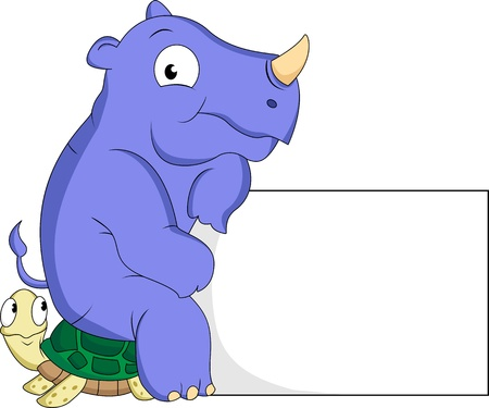 rhino and turtle cartoon with blank sign Illustration