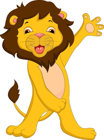 cute lion cartoon waving Vector