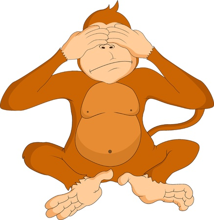 funny cartoon monkey Vector