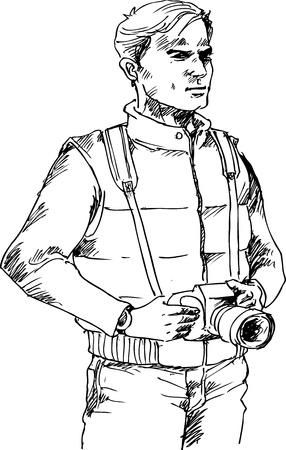 photographer hand drawn Illustration