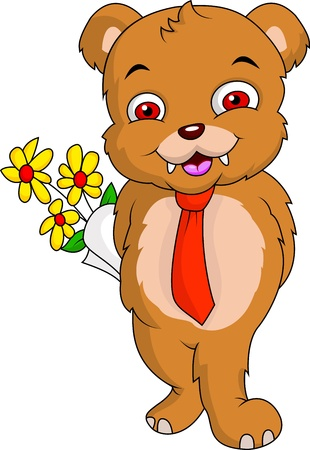 baby bear cartoon with flower
