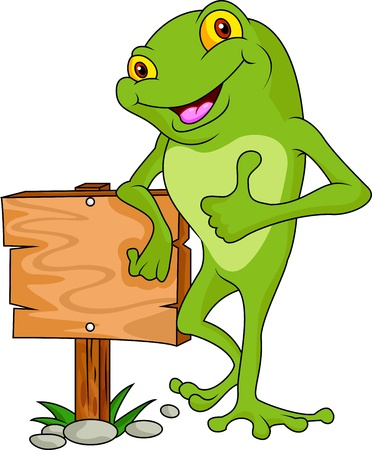 frog cartoon with signboard