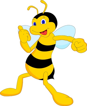 an insect sting: cute bee cartoon thumb up