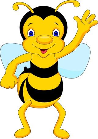 cute bee cartoon waving Stock Vector - 21315534