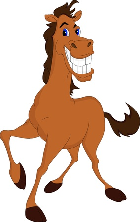 brown horse: funny horse cartoon Illustration