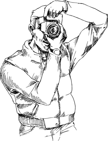 hand drawn photographer Vector