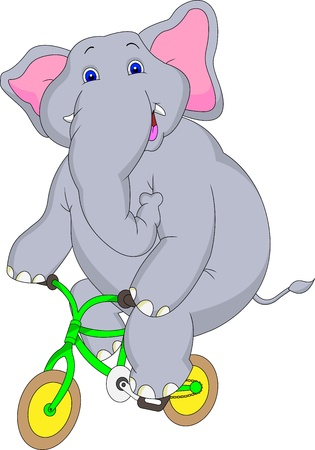 calves: elephant cartoon with bicycle Illustration