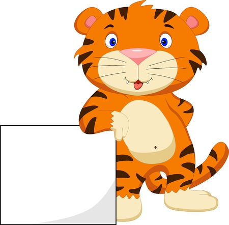 at sign: cute baby tiger cartoon with blank sign