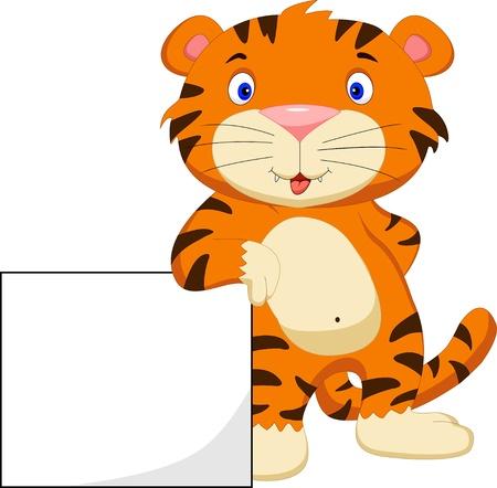 tigre caricatura: lindo beb� tigre de la historieta con la muestra en blanco