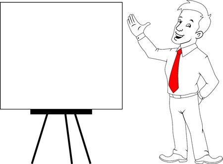 assign: businessman with blank white board