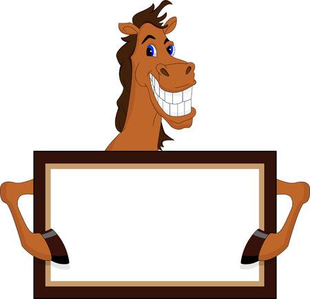 carreras de caballos: historieta del caballo divertido con el cartel en blanco