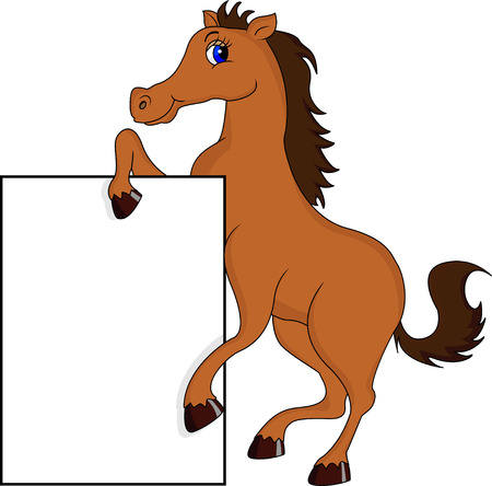 at sign: funny horse cartoon with blank sign Illustration