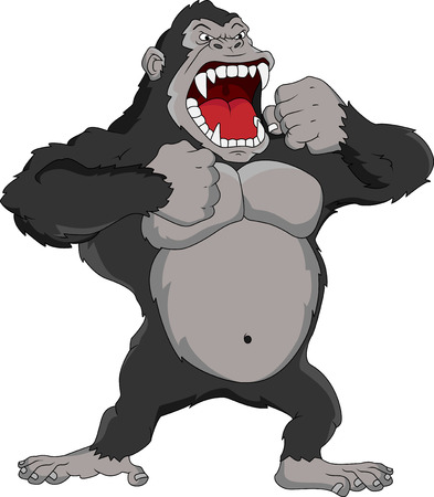 angry gorilla cartoon Ilustrace