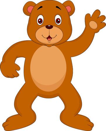 brown bear cartoon waving Stock Vector - 23513314