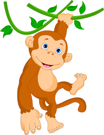 cute cartoon monkey: cute monkey hanging cartoon