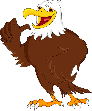 eagle cartoon thumb up Vector