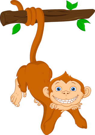 cute monkey hanging Vector