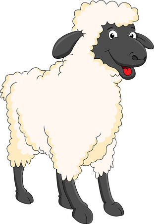 smiling sheep cartoon Vector