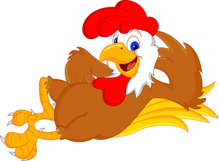 cute rooster cartoon Vector