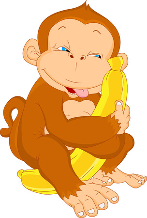 cute baby monkey with banana Vector