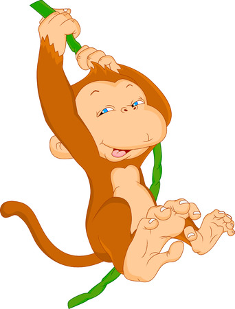 cute baby monkey hanging Vector