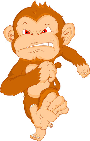 angry monkey cartoon Vector