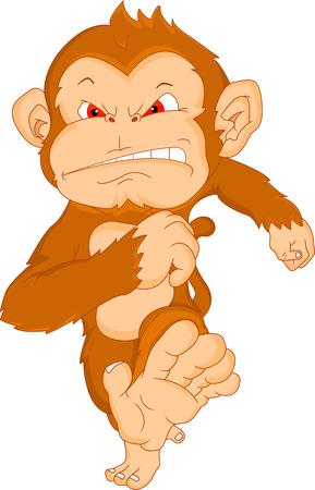 thumping: angry monkey cartoon Illustration