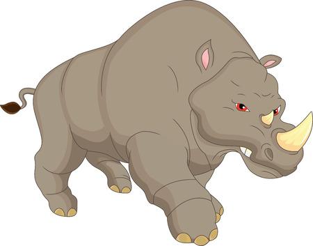 angry rhino cartoon Illustration