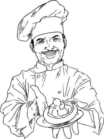 hints: hand drawn chef Illustration