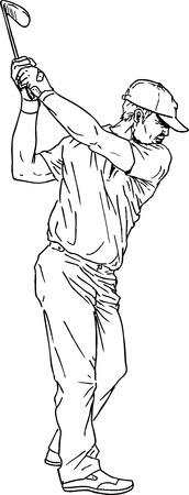 hand drawn golf player