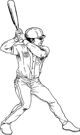 baseball stadium: hand drawn baseball player Illustration