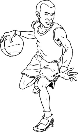 dribble: hand drawn basketball boy