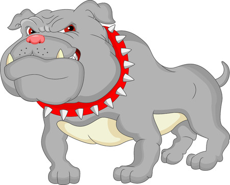bodyguard: english bulldog cartoon Illustration