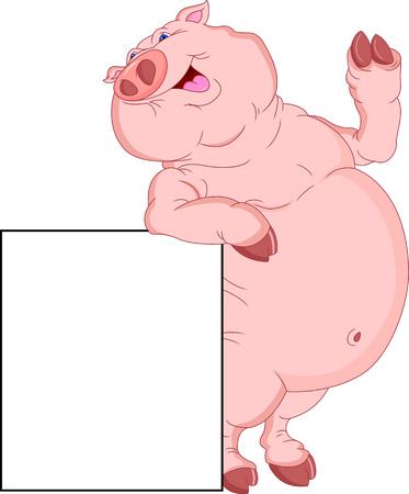 cute fat pig cartoon with blank sign Illustration