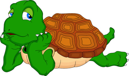 cute green turtle cartoon Illustration