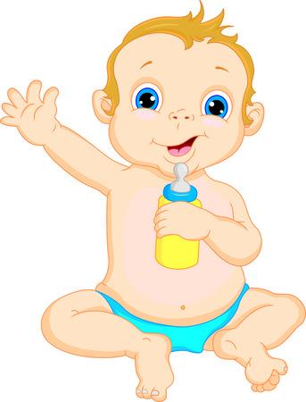 teteros: bebé lindo muchacho de la historieta