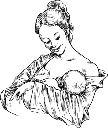 hand drawn woman hugging and feeding your baby Vector
