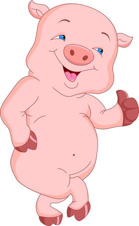 cute pig cartoon thumb up
