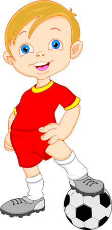 happy kids playing: boy cartoon soccer player