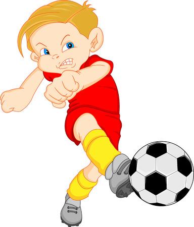 Jugador de fútbol de dibujos animados boy Foto de archivo - 26584193