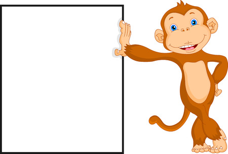 cute monkey with blank sign Vector