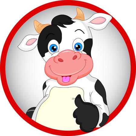 dairy: мило корова мультфильм пальцы вверх Иллюстрация