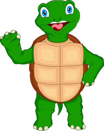 green turtle: simpatico cartone animato tartaruga verde sventolio