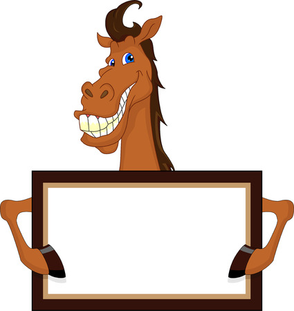 nostrils: cute horse cartoon with blank sign Illustration