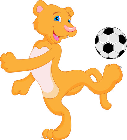 cub: cougar cartoon with soccer ball