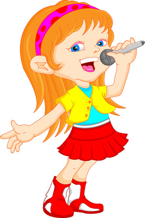 young girl singing Vettoriali