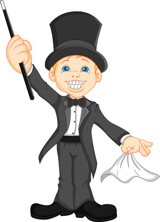 boy magician cartoon Vector