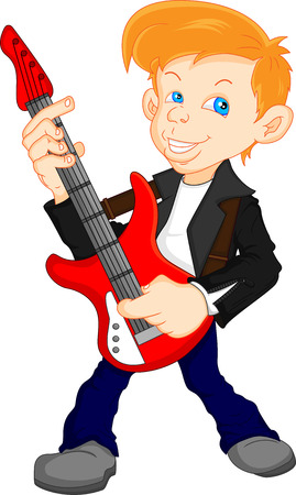 boy guitar player Vector