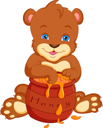 bear cartoon  with honey Vector