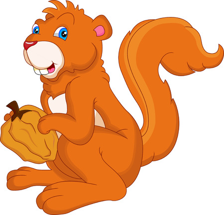 animal mascot: squirrel holding nut